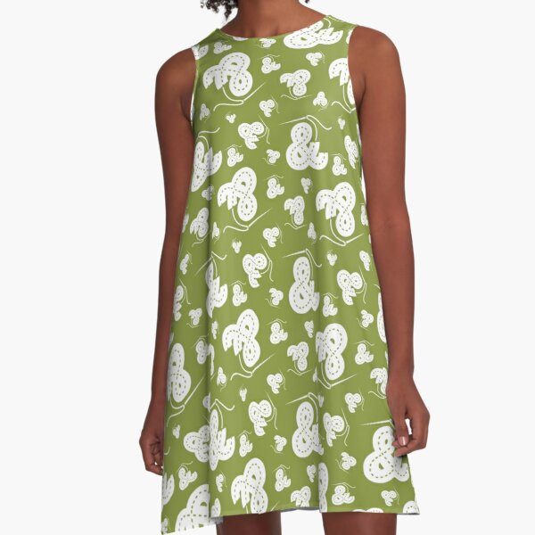 Stitched Ampersand - Olive A-Line Dress