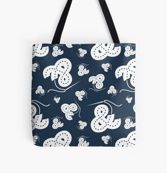Stitched Ampersand - Navy All Over Print Tote Bag