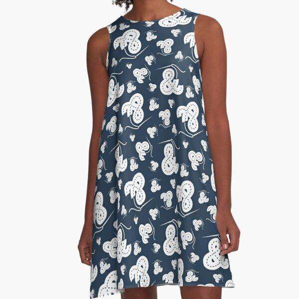 Stitched Ampersand - Navy A-Line Dress