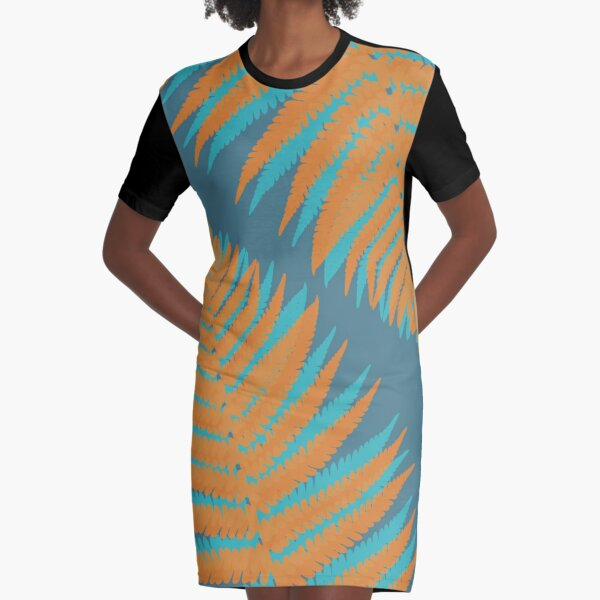 Forest Ferns in Orange and Blue Graphic T-Shirt Dress