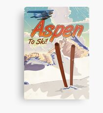 Aspen USA Vintage ski travel poster. Metal Print
