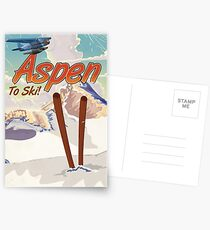 Aspen USA Vintage ski travel poster. Postcards