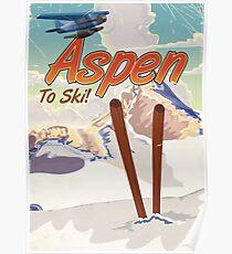 Aspen USA Vintage ski travel poster. Poster