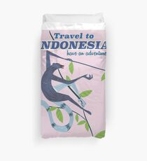 Travel to Indonesia monkey travel print Housse de couette