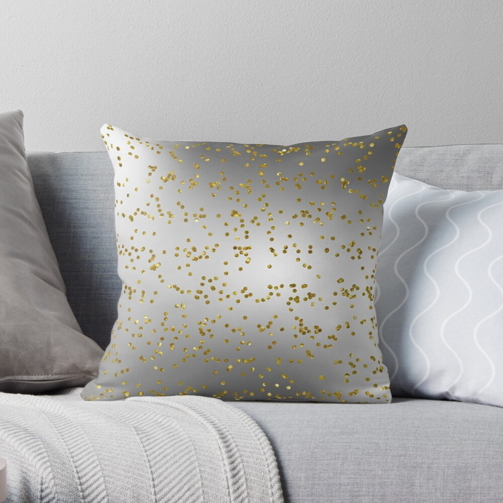 Silver Grey with Gold Glitter  Throw Pillow