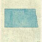 North Dakota State Map Blue Vintage by HubertRoguski