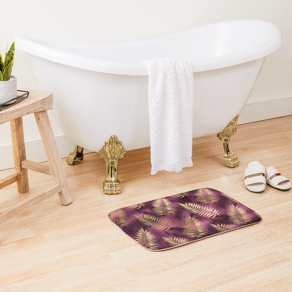 Burgundy and Gold Leaf Pattern Bath Mat