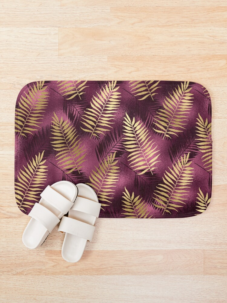 Alternate view of Burgundy and Gold Leaf Pattern Bath Mat