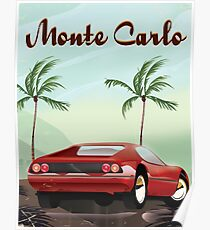 Monte Carlo sports car travel poster Poster