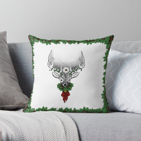 The Yule Stag Throw Pillow