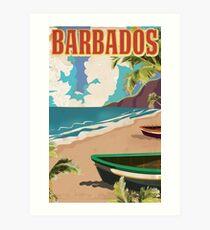 Vintage Reiseplakat Barbados Kunstdruck