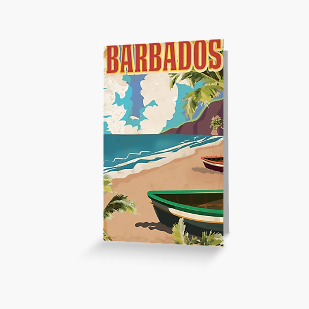 Vintage Travel Fridge Magnet Visit Barbados Islands
