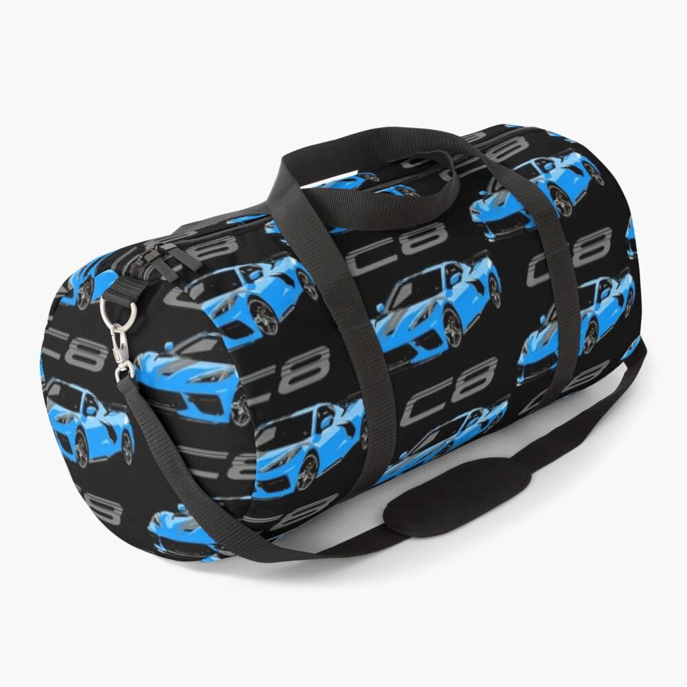Blue Chevy Corvette C8 Mid Engine Duffle Bag