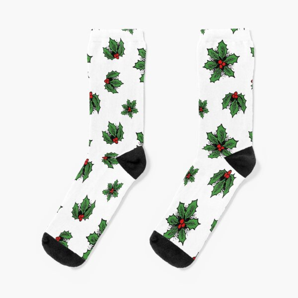 Winter Holly Socks, White Socks