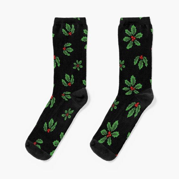 Winter Holly Socks, Black Socks