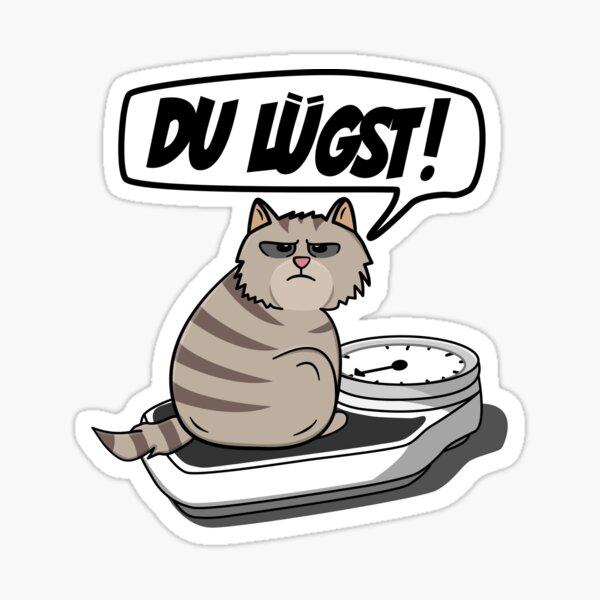 Lustige Dicke Katze auf Waage - Spruch: Du Lügst! Sticker