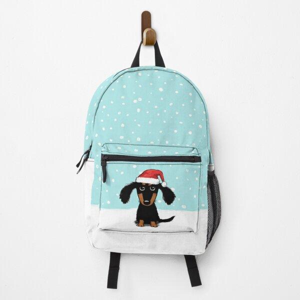 Cute Dachshund Christmas   Winter Wiener Dog Santa Backpack