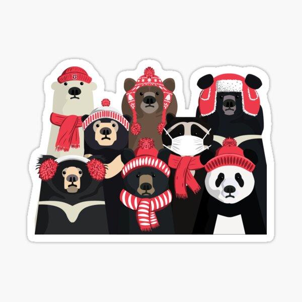 Bear family portrait: winter edition Sticker