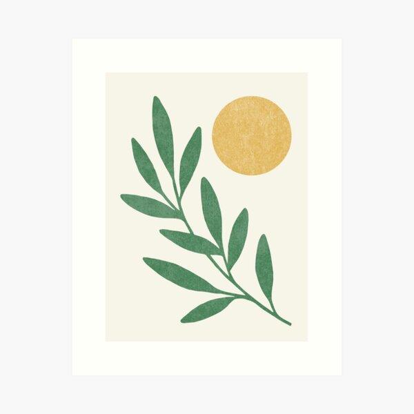 Leaf Sun - Gold Green Art Print