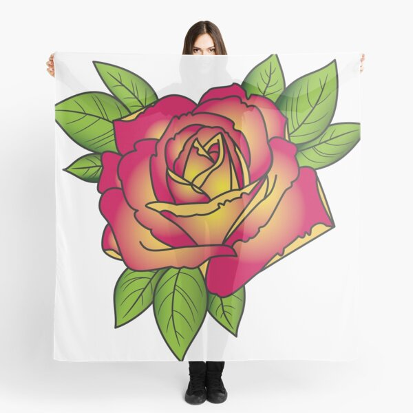 Rose tattoo - pink and yellow Scarf