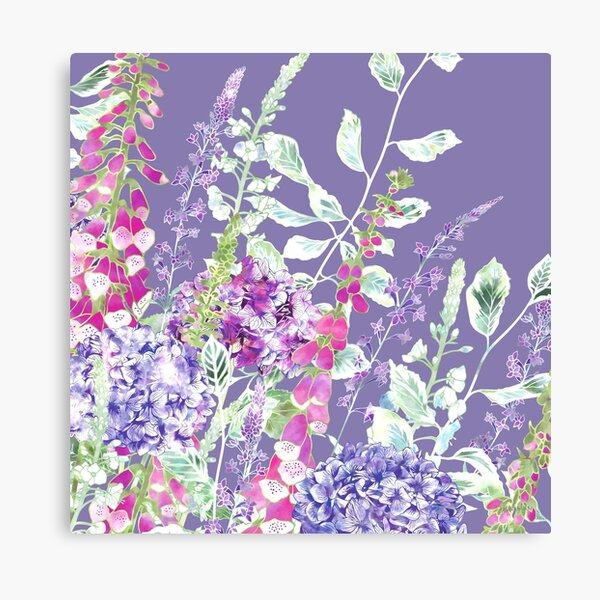 Pink Foxgloves & Hydrangeas Canvas Print