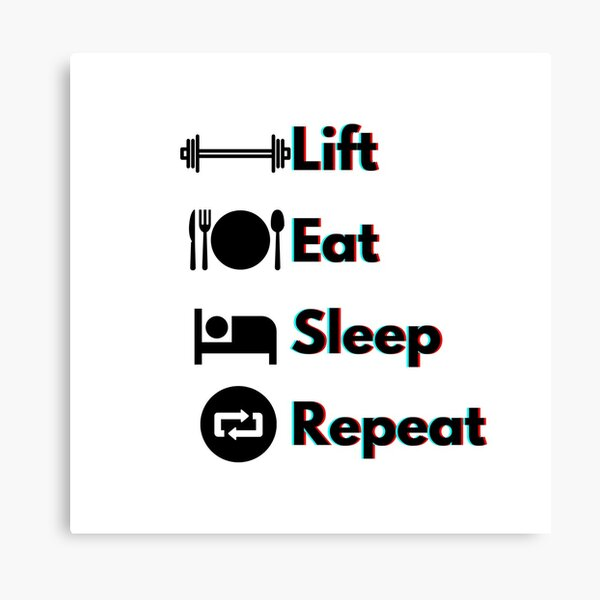 Lift, Eat, Sleep, Repeat Red and Blue Holographic  Canvas Print