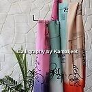SILK STOLES WITH CALLIGRAPHY by Kamaljeet Kaur