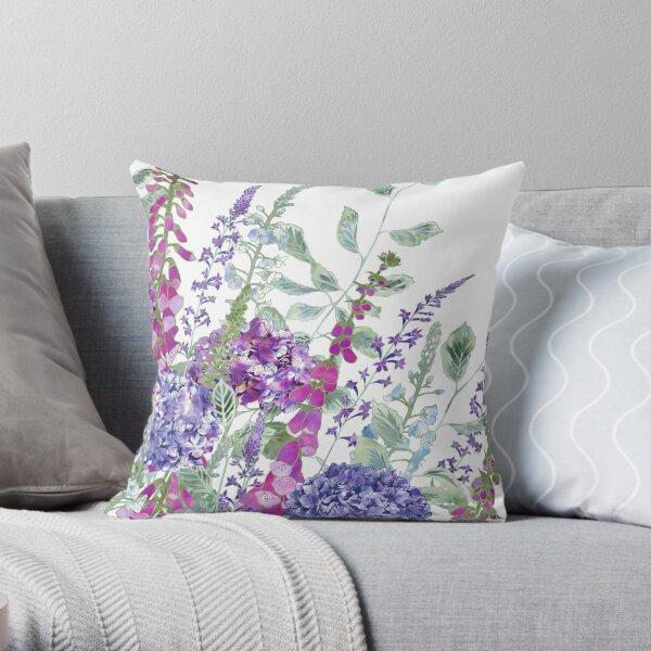 Pink Foxgloves & Hydrangeas Throw Pillow