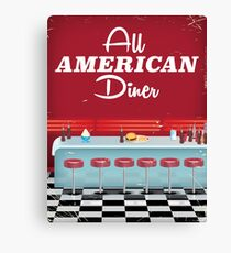 All American Diner Retro Poster Canvas Print