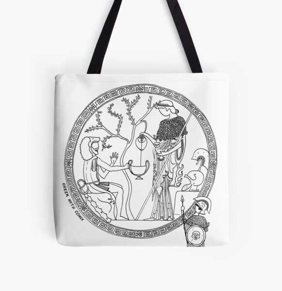 Greek Myth Comix - Athene and Heracles roundel All Over Print Tote Bag