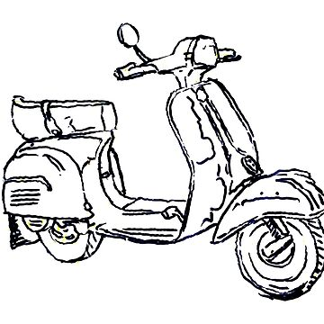Vespa Bajaj Piaggio Scooter Pen Drawing by rooosterboy