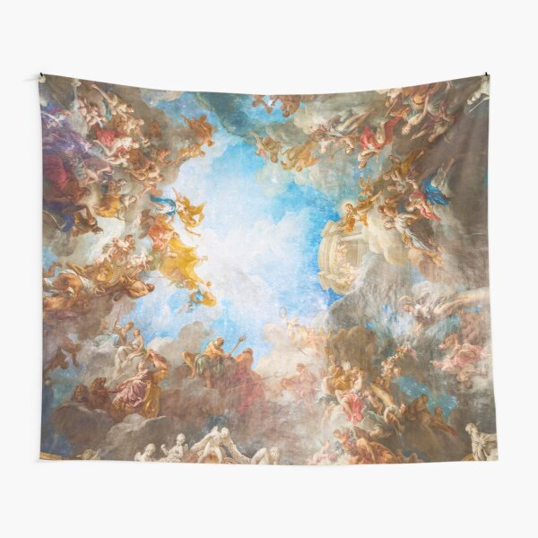 Fresco of Angels in the Palace of Versailles with space background Tapestry