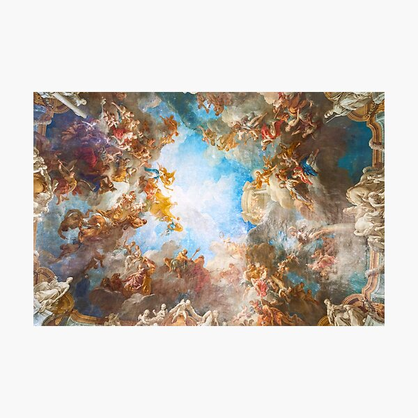 Fresco of Angels in the Palace of Versailles with space background Photographic Print