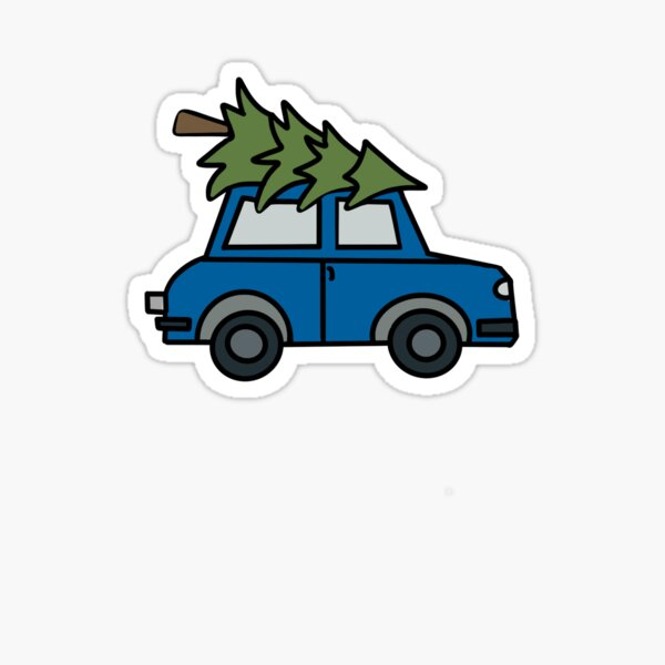 Blue Car With Christmas Tree Glossy Sticker