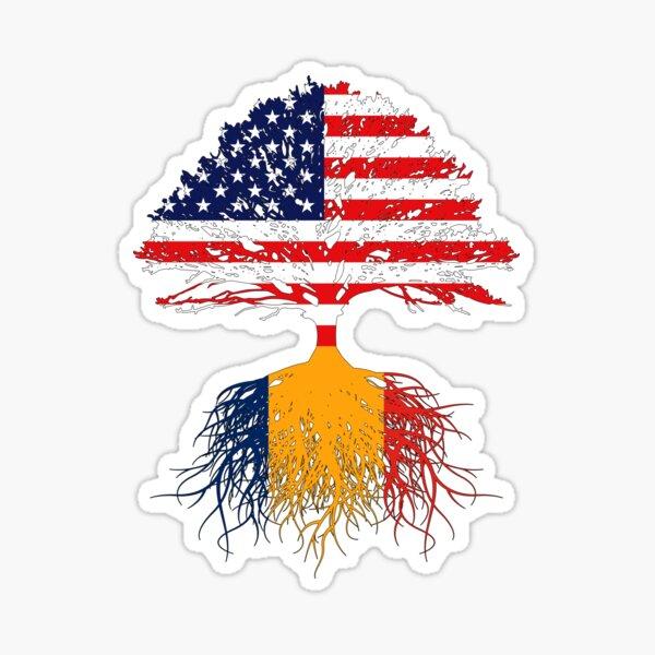 Romanian Roots, Romanian American, Romanian Grown,  Romania USA Flags, Romania Gift For Men Women Youth Sticker