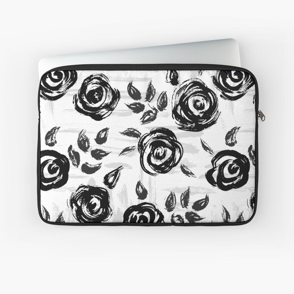 Brushstroke Roses Black on White Laptop Sleeve