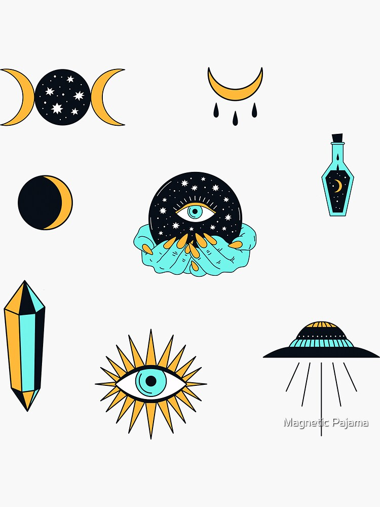 Spiritual Goddess Sticker Pack // all-seeing eye, witch, crystals, moon phases, ufo flying saucer by MagneticMama