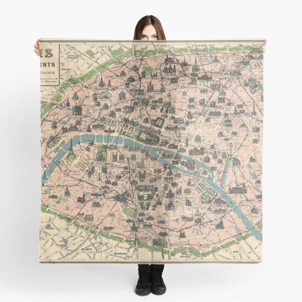 vintage paris map Scarf