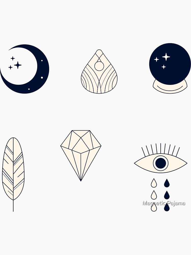 Spiritual Goddess Sticker Pack ~ all-seeing eye, crystal ball, crescent moon, feather by MagneticMama