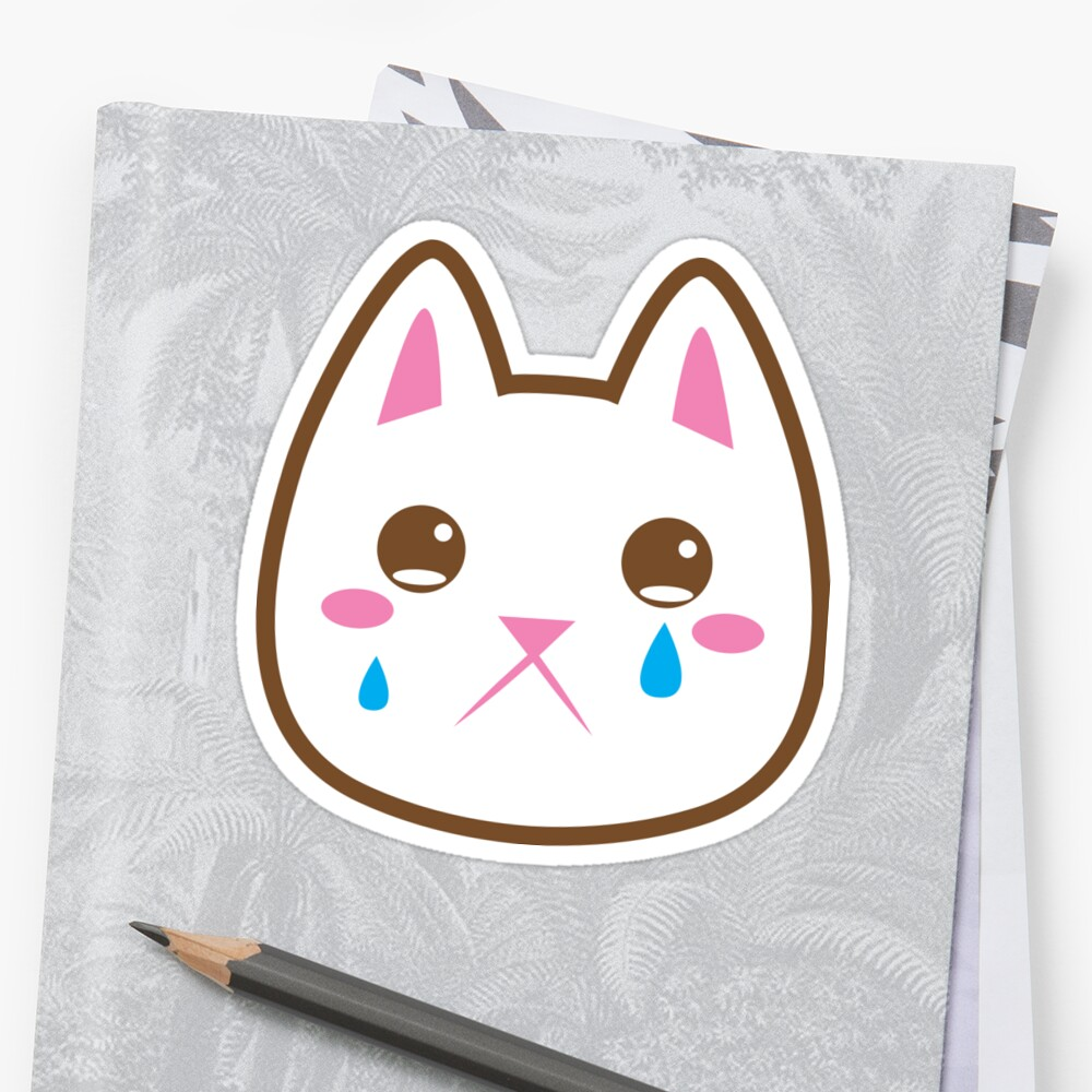 """Super cute Chibi Kawaii kitten SAD :("" Stickers by ..."