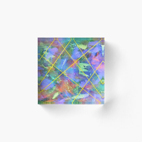 Blue Stained Glass Acrylic Block