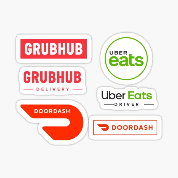 Food Delivery Logo Stickers - Door Dash, Uber Eats, Grubhub Delivery Driver Classic Logos Sticker