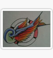 Tattoo Style Swallow in Life Ring Sticker