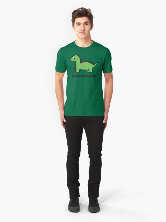 Alternate view of Awesomesaurus (green) Slim Fit T-Shirt