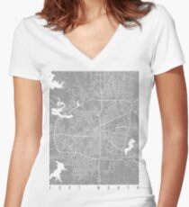 Fort Worth map grey Women's Fitted V-Neck T-Shirt