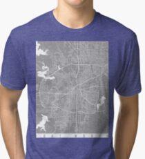 Fort Worth map grey Tri-blend T-Shirt