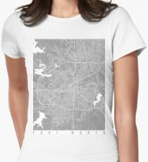 Fort Worth map grey Women's Fitted T-Shirt