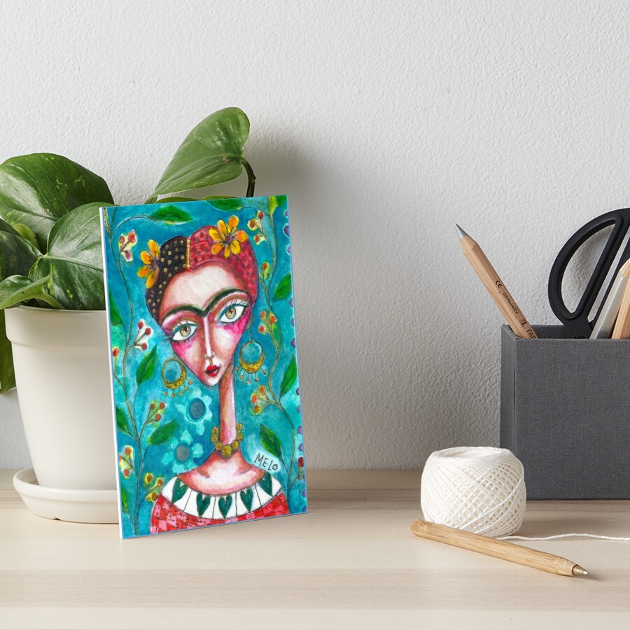 Frida Kahlo in Blue Flowers by Cris Melo Art Board Print