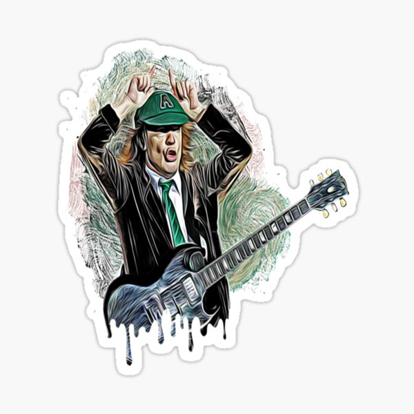 Angus Young From Ac Dc Sticker