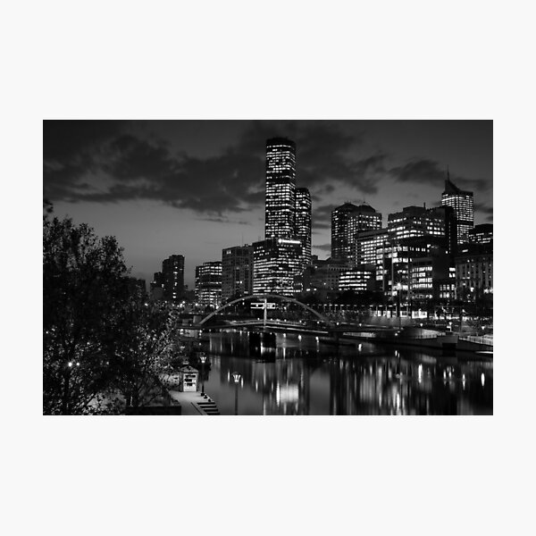 Melbourne in Black and White - The Yarra River At Night Looking West - Photographic Print Photographic Print